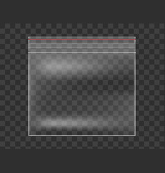 plastic transparent bag isolated on checkered vector image