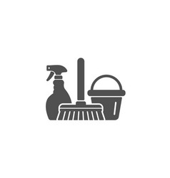Cleaning service icon spray bucket and mop vector