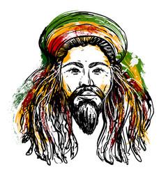 portrait of rastaman jamaica theme vector image vector image