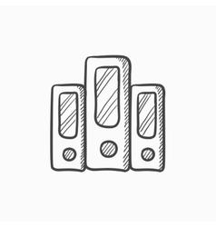 Row of folders sketch icon vector image