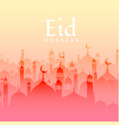 beautiful eid festival background with mosque vector image vector image