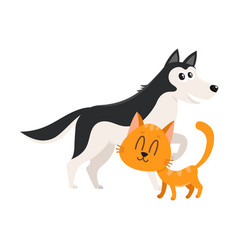 husky dog and red cat kitten characters vector image vector image