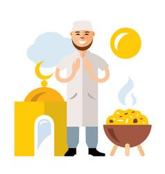 islamic prayer flat style colorful cartoon vector image