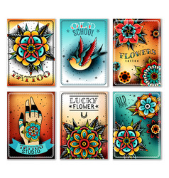 old school tattoo cards vector image