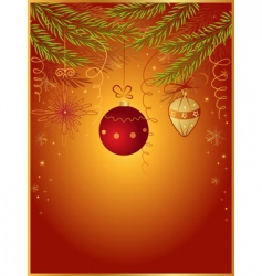 red Christmas background with fir vector image vector image