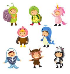 set of cute kids wearing animal costumes vector image vector image