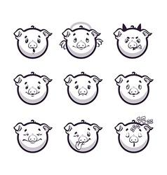 Set smiles pig Monochrome emotions icons vector image