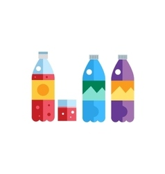 Water soda and juice or tea bottles vector image