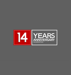 14 years anniversary in square with white and red vector