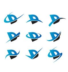 Alphabet d logo icons vector