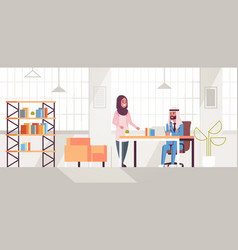 arab businessman with female assistant using vector image