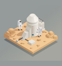 astronauts on planet isometric composition vector image