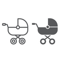 Baby carriage line and glyph icon child vector