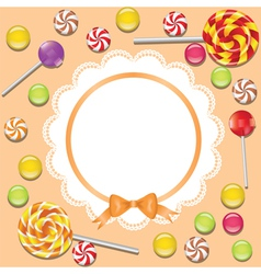 Background with candies frame vector
