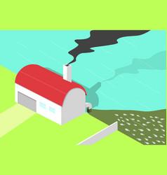 bad factory make black smoke and water pollution vector image