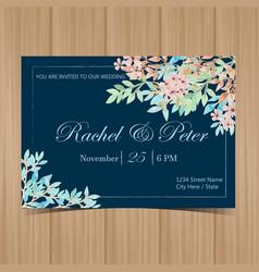 beautiful watercolor floral wedding invitation vector image