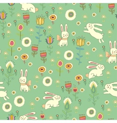 Bright Easter pattern with rabbits vector image