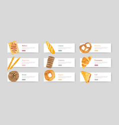 Bundle web banners with fresh and tasty bread vector