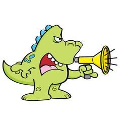 Cartoon dinosaur shouting into a megaphone vector