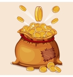 Cartoon full bag of gold coins vector