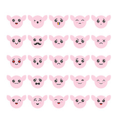 cartoon kawaii emoticons set vector image
