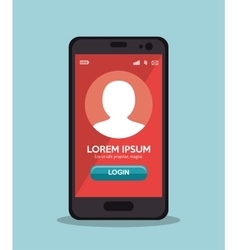 Cellphone login app red screen vector