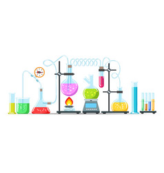 chemistry lab equipment vector image