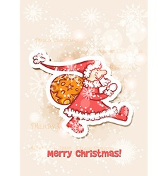 Christmas with sticker santa vector