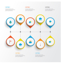 climate icons flat style set with drip shower vector image