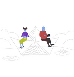 couple floating on paper boat man woman using vector image