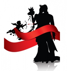 couple with cupid vector image