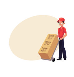 Courier delivery service worker hand cart dolly vector