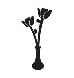 cute rose on a pot silhouette vector image
