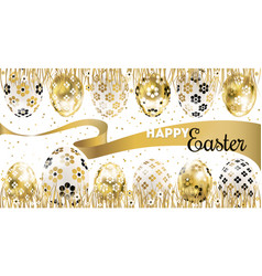 Easter banner with golden eggs in the grass vector