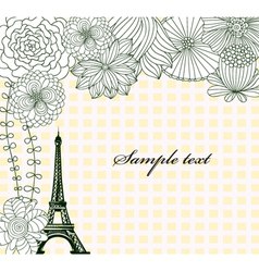 eiffel tower with floral vector image