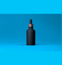 Elegant cosmetic dropper for skin care on blue vector