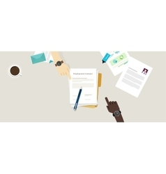 Employment contract paper document desk and hand vector