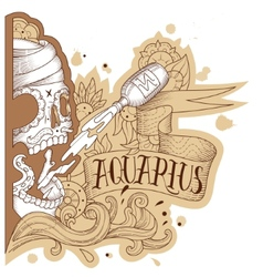 Engraving aquarius vector