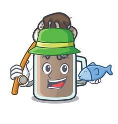 Fishing milkshake mascot cartoon style vector