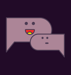Flat chat icon with dialog clouds vector
