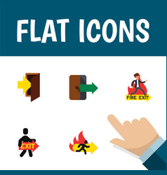 Flat icon door set of fire exit emergency exit vector
