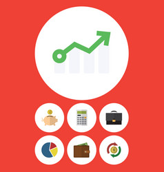 Flat icon finance set of interchange growth vector