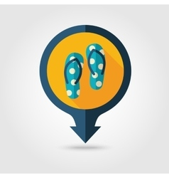 Flip Flops pin map flat icon Summer Vacation vector image