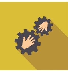 Gears Contact Flat Long Shadow Square Icon vector