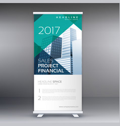 Geometric roll up banner template vector