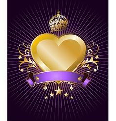 Golden Heart label vector