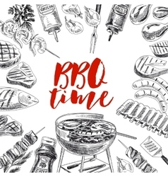 hand drawn grill and barbecue vector image