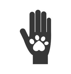 Hand foot print love pet animal icon vector