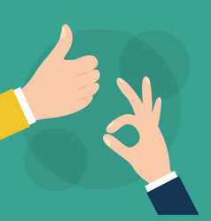 hand like and ok gesturing image vector image