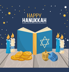 Hanukkah book with candles and spin decoration vector